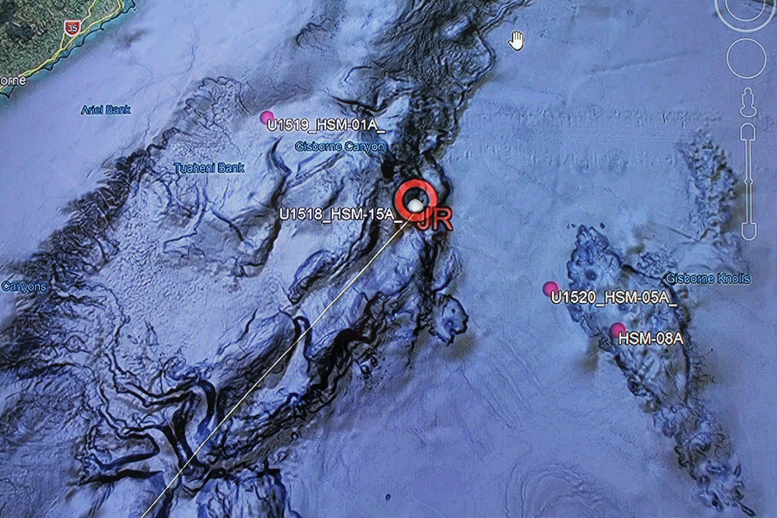 Google Earth map off the coast of New Zealand