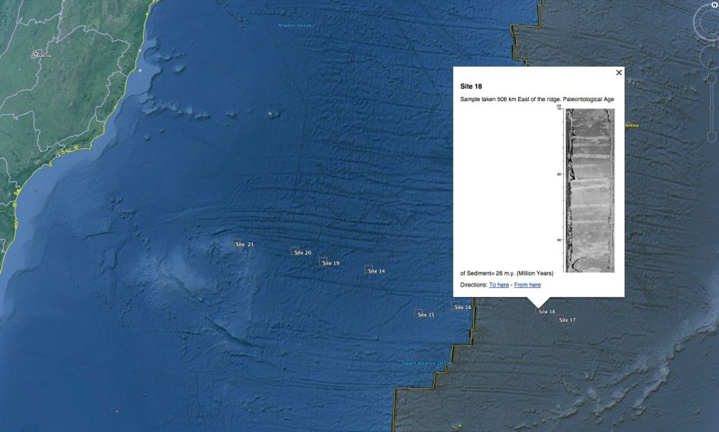 Seafloor Cores Google Earth overlay