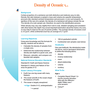 thumbnail photo for the density of oceanic crust lesson plan