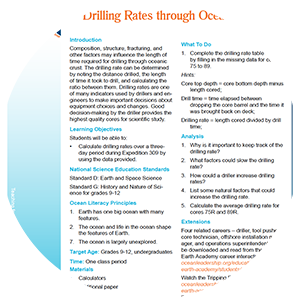 thumbnail of the drilling rates through oceanic crust lesson plan