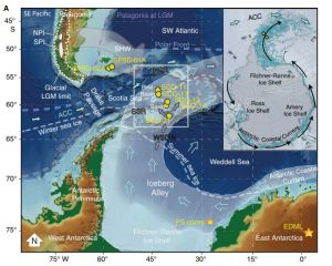 Diagram showing drill sites in the Drake Passage near the Antarctic Peninsula, as well as an insert map of Antarctica showing a counter clockwise circulation of icebergs around the continent.