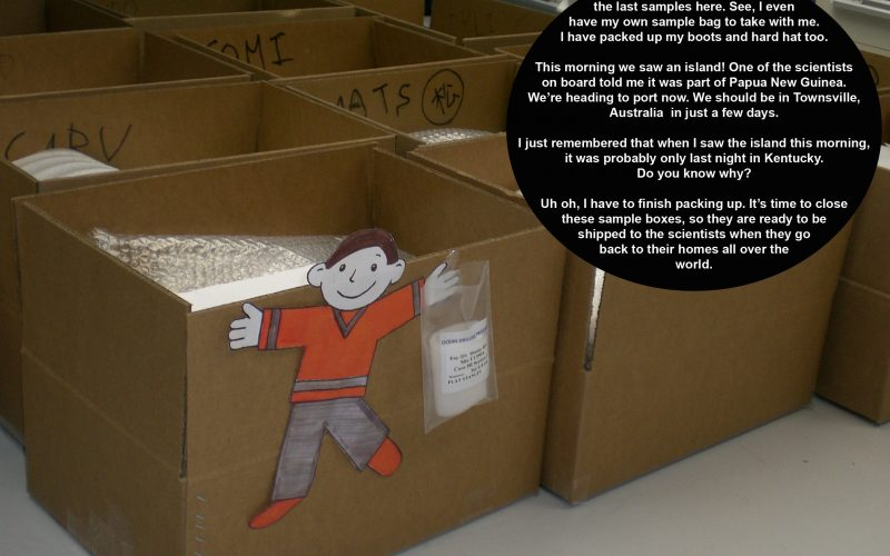 Flat Stanley is packing samples