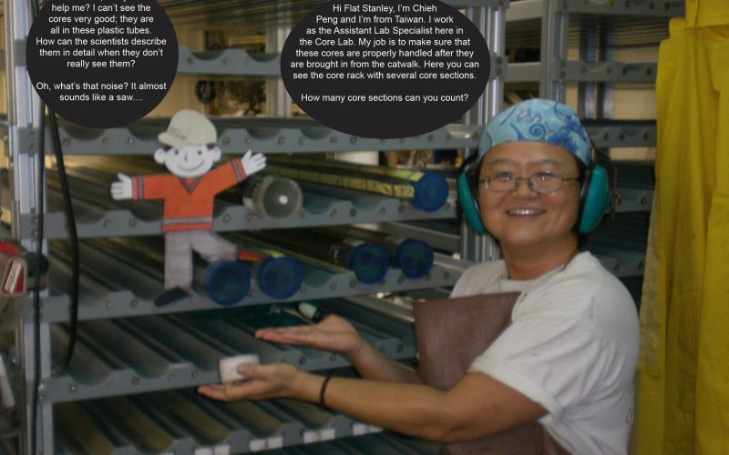 Flat Stanley counts the core tubes with Chieh Peng