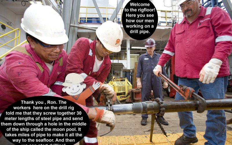 Flat Stanley on the drill rig floor
