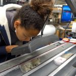 Examining cores on the JOIDES Resolution