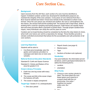 thumbnail image for the core section curation lesson plan