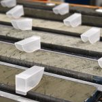 Sediment cores in various shades of grey